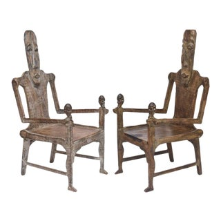 Pair of Large African Rootwood Armchairs, Late 19th to Early 20th Century For Sale