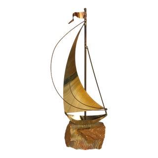 Vintage Brass Sailboat Art Sculpture Signed DeMott For Sale