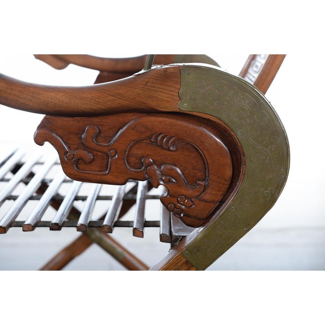 Brown Chinese Carved Horseshoes Folding Chairs - a Pair For Sale - Image 8 of 10