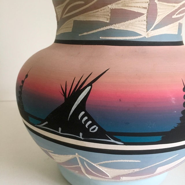 Vintage Signed Navajo Native American Pink Mesa Sunset Hand Painted Pottery Vase For Sale - Image 4 of 11