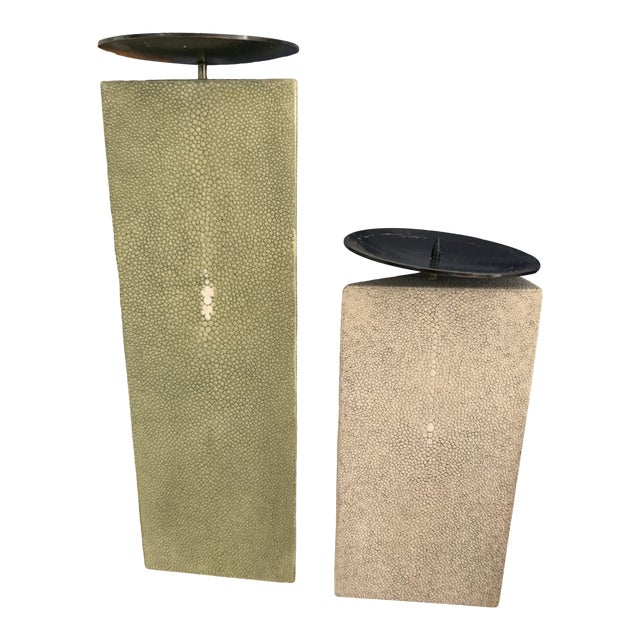 Shagreen Candlesticks - R & Y Agousti - a Pair For Sale