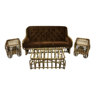 Rattan Furniture Grouping, 8 Pieces For Sale