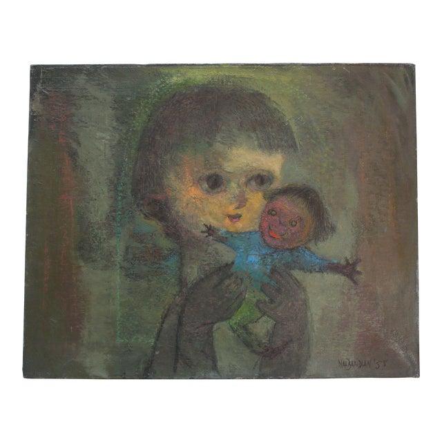 Karnig Nalbandian 'Blue Doll' Oil on Canvas, 1953 For Sale