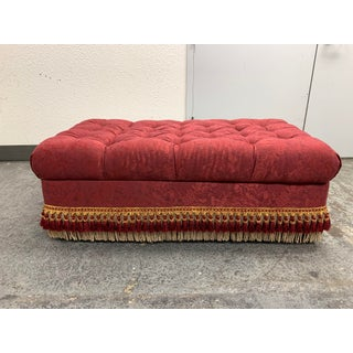 Custom Storage Tufted Ottoman + Fringe + Casters Preview