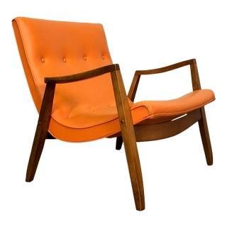 Milo Baughman for James Mid-Century Modern Scoop Chair ~ Orange Vinyl For Sale