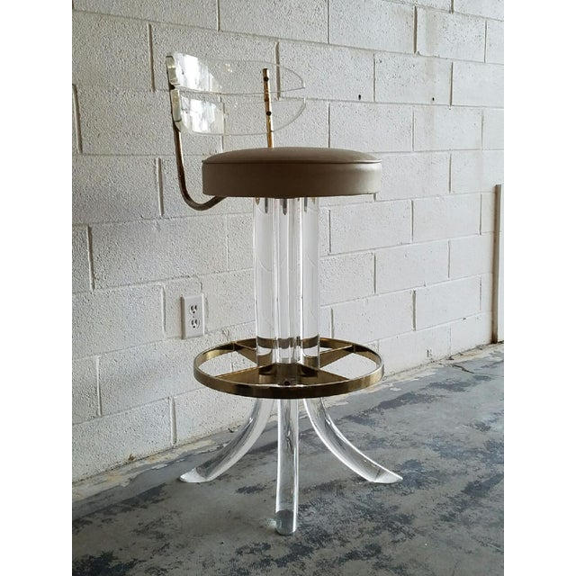Vintage Lucite & Brass Barstools- A Pair - Image 6 of 6