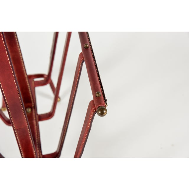 1950s Stitched Leather Magazine Rack by Jacques Adnet For Sale In New York - Image 6 of 9