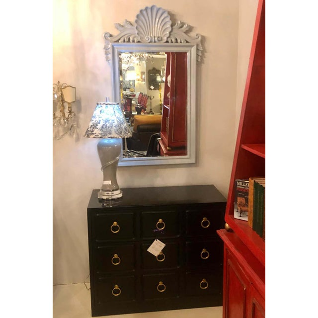 Dove Gray Hollywood Regency Labarge Wall or Console Mirrors, Italian - a Pair For Sale - Image 8 of 13