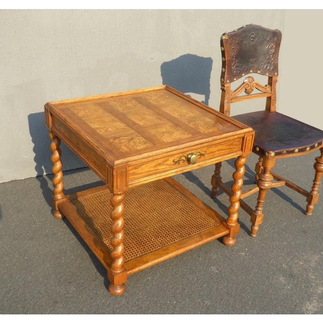French Provincial Baker Furniture Barley Twist Cane Shelf End Table ~ Side Table For Sale - Image 3 of 13