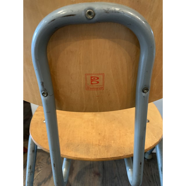 1950s Vintage Brunswick Wooden School Chairs With Bent Tubular Steel Legs - a Pair For Sale - Image 10 of 11