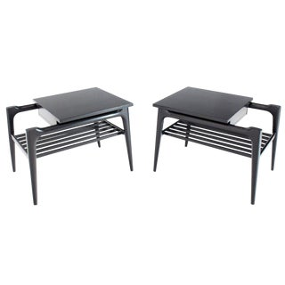 1960s Mid-Century Modern Black Ebonised One Drawer End Tables - a Pair For Sale
