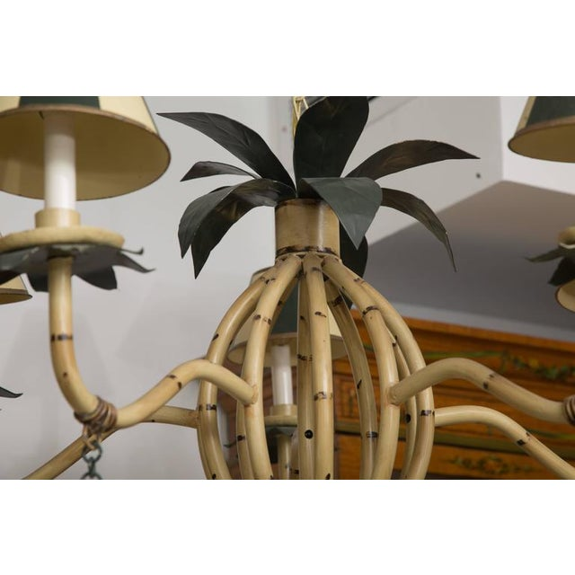 Polychrome Metal Ten-Light Faux Custom Bamboo Chandelier - Image 4 of 10
