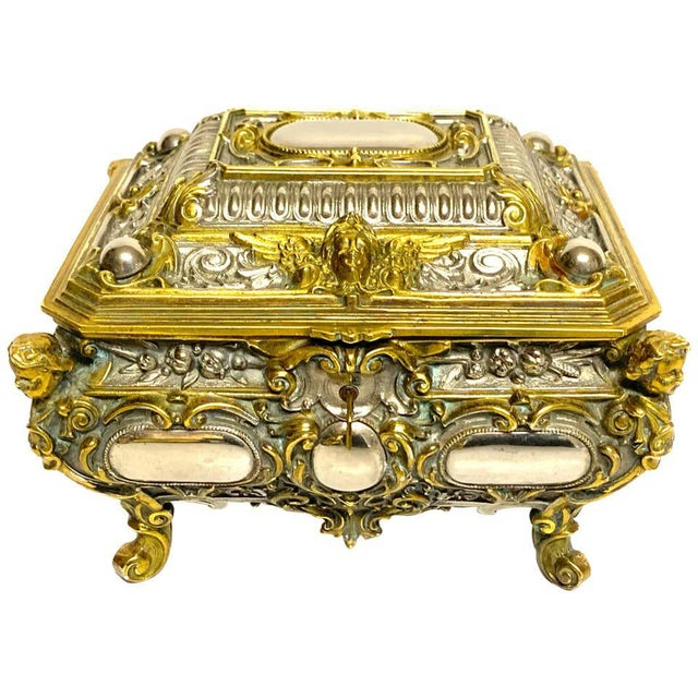 Silvered Bronze and Ormolu Jewelry/Table Box For Sale - Image 12 of 12