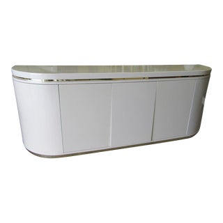 Modern White Lacquered & Brass Sideboard