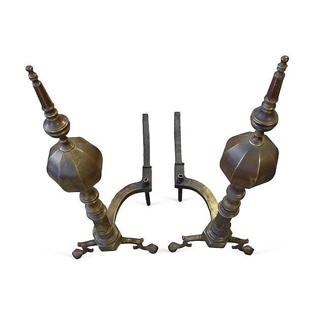 Large Brass and Iron Andirons - A Pair - Image 2 of 6