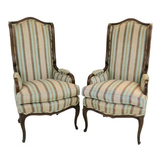 Louis XV Style Wingback Bergeres - a Pair For Sale