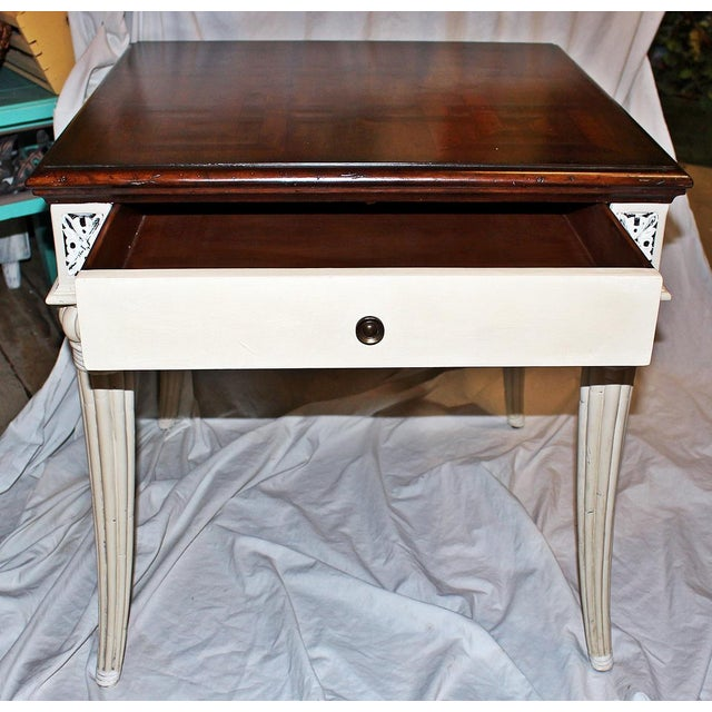 Fun take on a neo-classical design side table, mahogany parquetry top, one drawer, fluted and curved legs, just paint in...