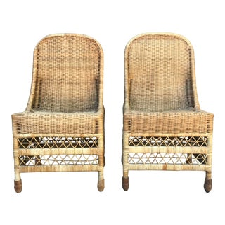 Mid 20th Century Rattan Chairs - a Pair For Sale