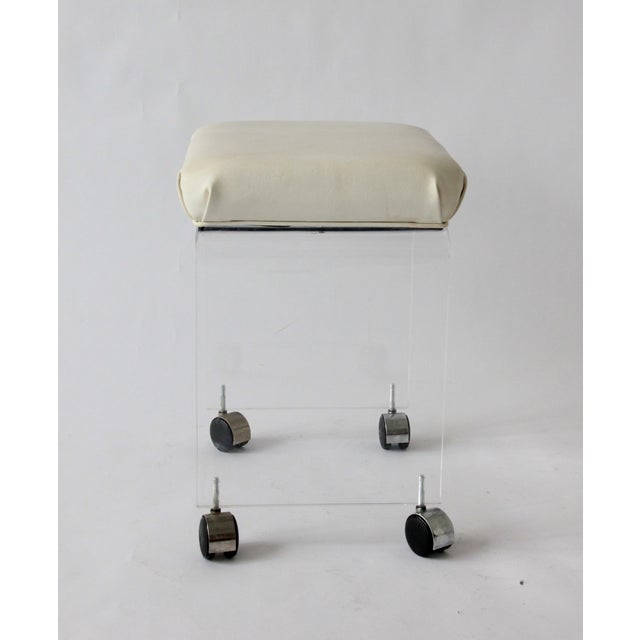 Vintage Lucite and Leather Rolling Stool For Sale - Image 5 of 9