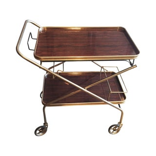 French Mid-Century Rolling Bar Cart For Sale
