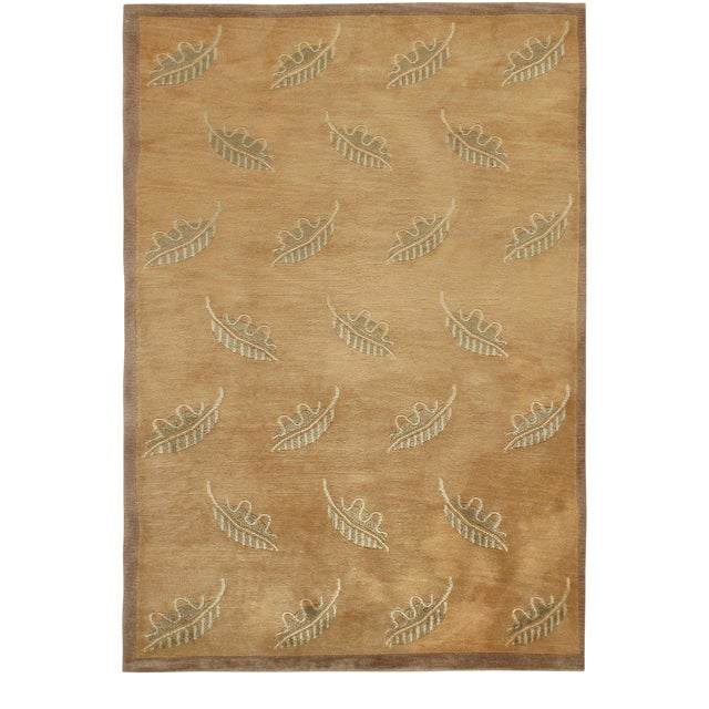 Contemporary Modern Brown Hand Knotted Rug - 4' X 6' For Sale