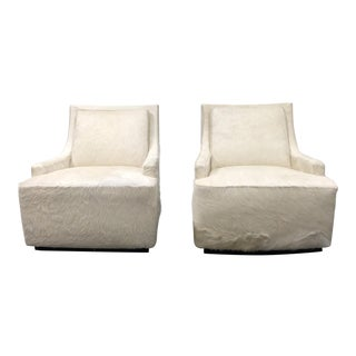 Barbara Barry Scoop Swivel Cowhide Chairs for HBF - A Pair