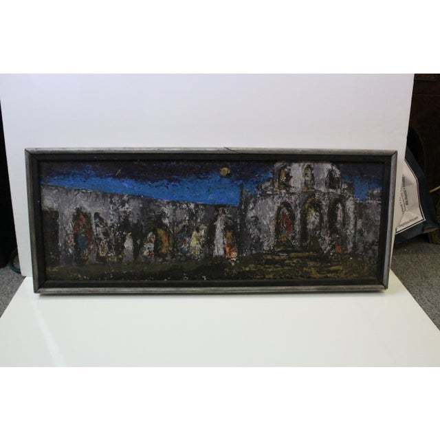 Wood Vintage Mid-Century Kenneth Forman Village at Evening Painting For Sale - Image 7 of 8