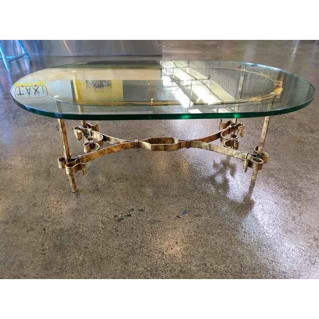 1950s Spanish Brutalist Gilded Wrought Iron & Glass Coffee Table For Sale - Image 11 of 13
