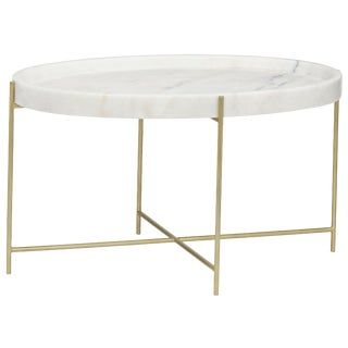 Che Cocktail Table, Antique Brass, Metal and Stone For Sale
