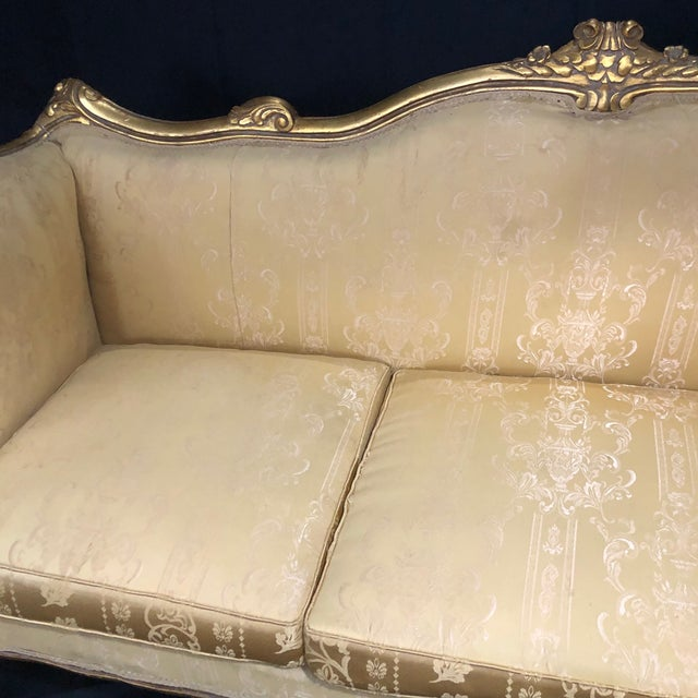 Wood French Louis XV Style Giltwood Sofa For Sale - Image 7 of 13