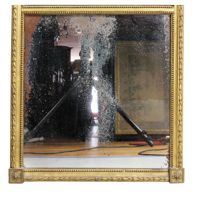 Wood Dutch Neoclassic Giltwood and Reverse Painted Mirror For Sale - Image 7 of 8