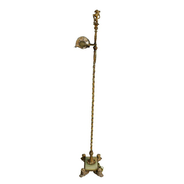 Gold Renaissance Revival Wrought Iron and Bronze Floor Lamp For Sale - Image 8 of 11