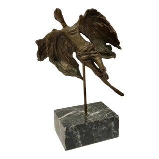 Vintage Bronze Angel Sculpture on Black Marble Stand For Sale