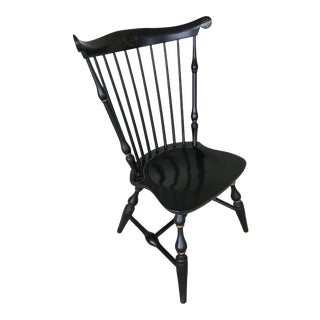 Nichols & Stone Black Fan Back Paint Decorated Windsor Side Chair For Sale