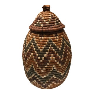 African Hand-Woven Basket With Lid For Sale