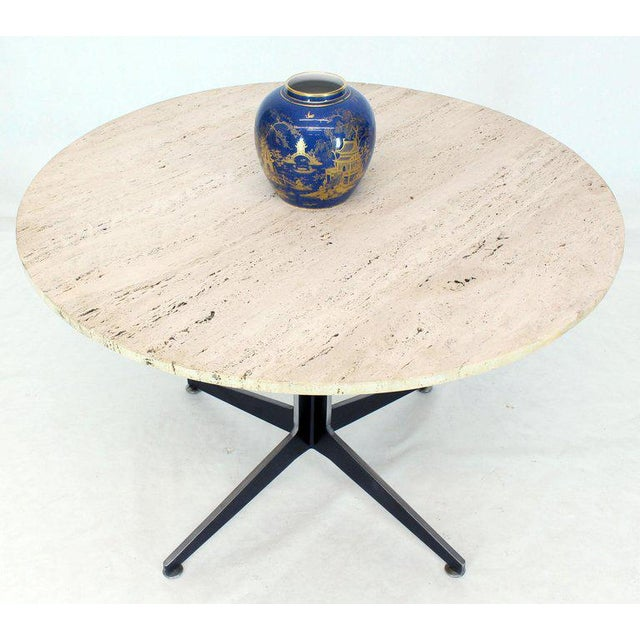 Metal Round Travertine Top Fabricated Aluminium X-Base Cafe Dining Table For Sale - Image 7 of 8