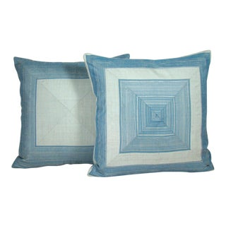 Moody Blues Mitered Stripe Pillow Covers - A Pair For Sale