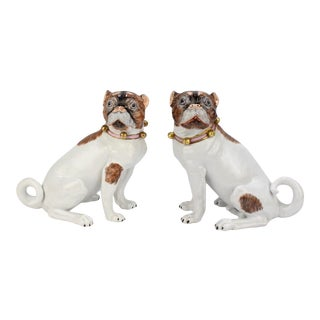 Matched Dresden Porcelain Pug Dog Figurines - A Pair For Sale