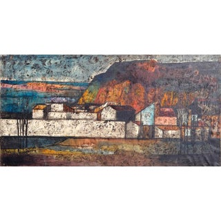 Italian Harbor Town Painting