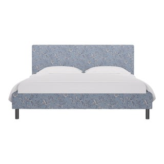 California King Tailored Platform Bed in Blue Aviary By Scalamandre For Sale