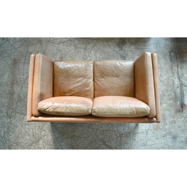 Danish Loveseat in Butterscotch Worn Leather by Stouby Mobler For Sale - Image 9 of 12
