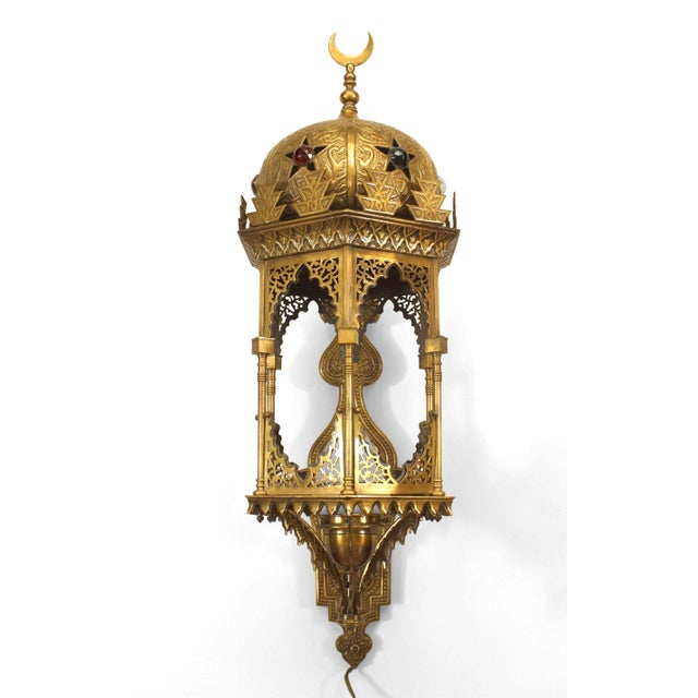 Middle Eastern Embossed Brass Lantern Sconce For Sale - Image 4 of 4