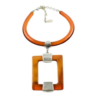 Dominique Denaive Paris Orange Resin Modernist Necklace For Sale