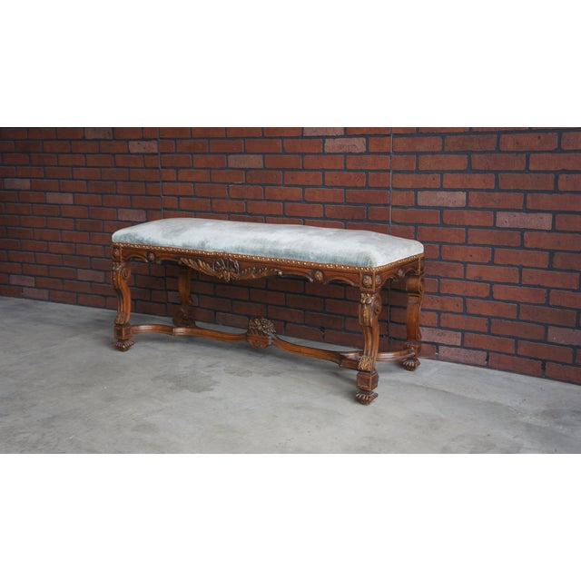 Gray Antique French Provincial Bench For Sale - Image 8 of 9