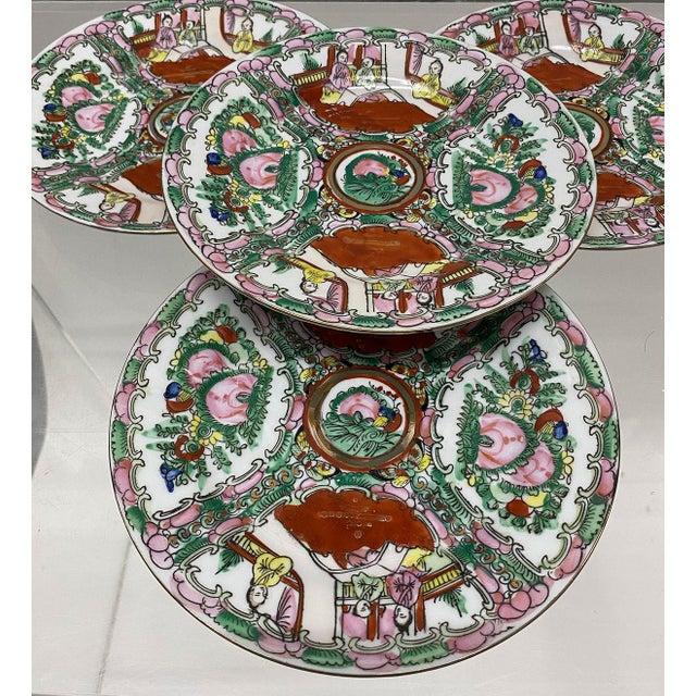 Vintage Small Rose Medallion Decorative Plates Set of 4 For Sale - Image 10 of 12