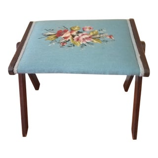 Vintage Needlepoint Floral Danish Style Foot Stool For Sale
