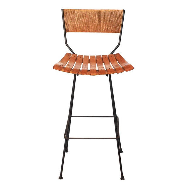 Iron, Raffia and Bentwood Bar Stool by Arthur Umanoff - Image 2 of 4