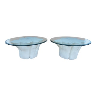 John Dickinson Style Faux Bois Plaster Side Tables - A Pair For Sale