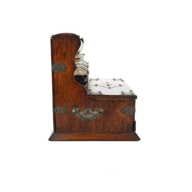 19th C Antique Captain Oak Tantalus & 3 Decanters - Image 7 of 9
