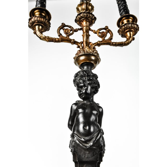 Belle Epoque Pair of Antique French Bronze Candelabras For Sale - Image 3 of 7